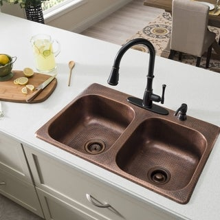 SINKOLOGY Raphael Dual Mount Handmade Pure Solid Copper 33 in. 4-Hole Double Bowl Kitchen Sink in Antique Copper
