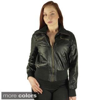 Ladies Zip Up PU Jacket by B.B. Jeans