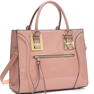 Dasein Structured Faux Patent Leather Satchel with Zipper Front Pocket