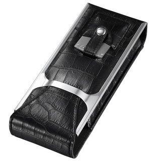 Visol Alton Black Leather Cigar Case, Cigar Cutter and Flask Travel Set