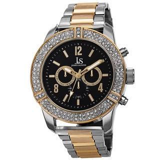Joshua & Sons Men's Swiss Quartz Multifunction Crystal Bezel Bracelet Watch