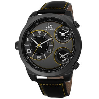 Joshua & Sons Men's Japanese Quartz Triple Time-Zone Leather Strap Watch