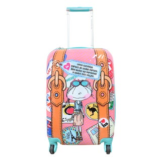 Hablando Sola Little Pieces of the World 22-inch Hardside Carry On Spinner Upright Suitcase