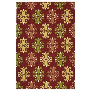Indoor/ Outdoor Handmade Getaway Red Medallions Rug (9'0 x 12'0)