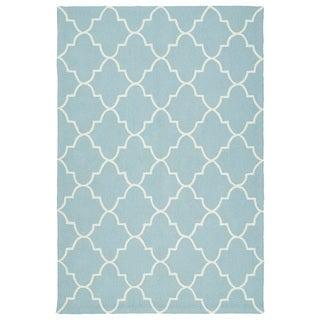 Indoor/ Outdoor Handmade Getaway Light Blue Tiles Rug (9'0 x 12'0)