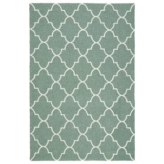Indoor/ Outdoor Handmade Getaway Mint Tiles Rug (9'0 x 12'0)
