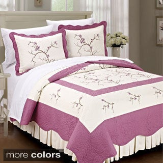 BNF Home Prewashed 100-percent Cotton Embroidered Cherry Blossom 3-piece Bedspread Set