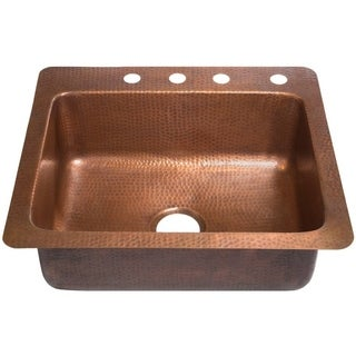 Sinkology Kahlo 25-inch Drop-in Solid Antiqued Copper Single Bowl Kitchen Sink