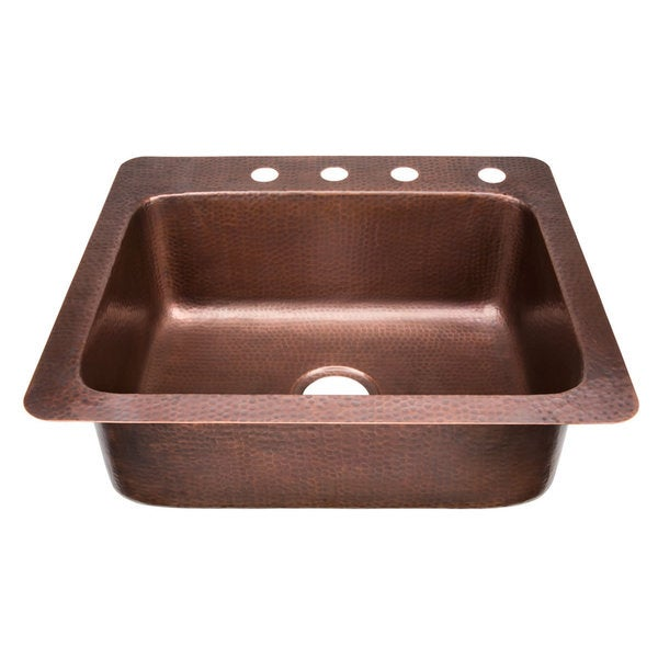 Sinkology kahlo 25 inch drop in solid antiqued copper - Copper drop in kitchen sink ...