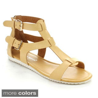 Nature Breeze Women's Intensity-02 T-Strap Double Buckled Strap Sandals