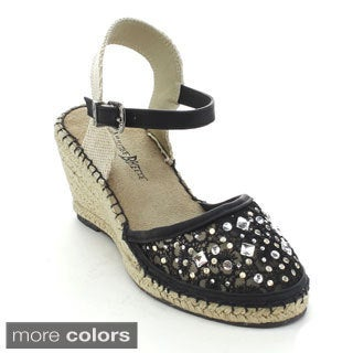 Nature Breeze Women's Nomad-01 Rhinestone Espadrille Wedges