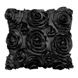Wake Up Frankie Left Bank Black Roses Accent Pillow