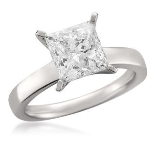 14k White Gold 2.71ct TDW Certified Princess-cut Diamond Solitaire Ring (G, SI2-SI3)