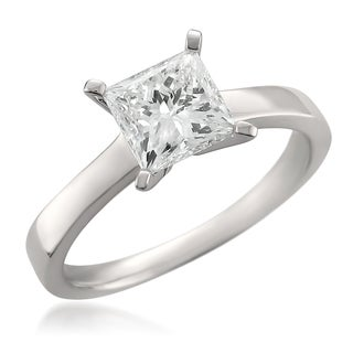 14k White Gold 1.56ct TDW Certified Princess-cut Diamond Solitaire Ring (G-H, SI1-SI2)
