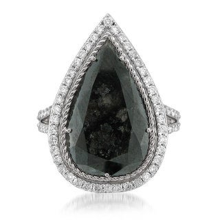 14k White Gold 9 5/8ct TDW Black Diamond Pear One-of-a-Kind Ring Size 7.5 (G-H, SI1-SI2)