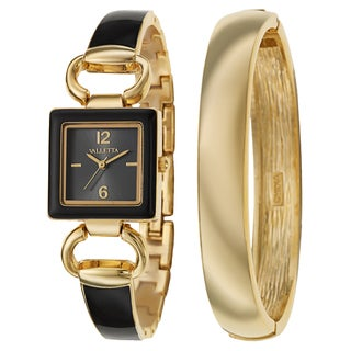 Valletta Women's 'Bracelet' Yellow Goldtone Quartz Black and Gold Yellow Goldtone and Enamel Bracelet Watch