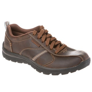 Skechers USA Relaxed Fit Leather Bike Toe Lace-up Shoe with Memory Foam Footbed