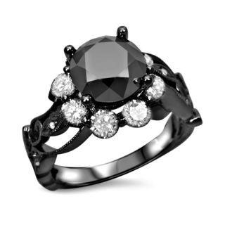 Noori Collection 14k Black Rhodium-plated 2 3/5ct TDW Black Diamond Floral Engagement Ring (G-H, Si1-SI2)