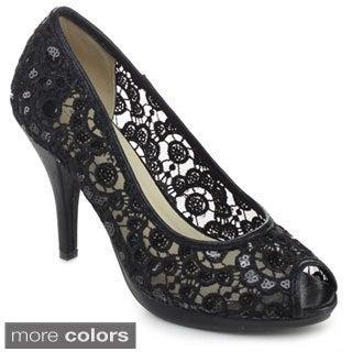 Styluxe Women's Mesh-48 Hollow Flower Cushioned Insole Heels