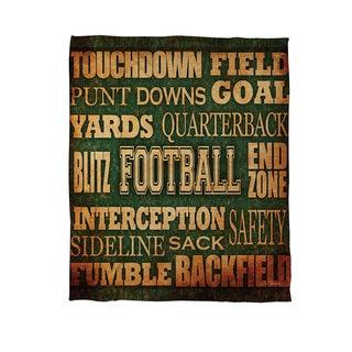 Thumbprintz Football Words Coral Fleece Throw