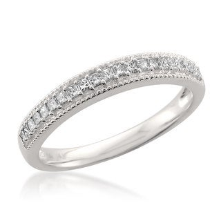14k White Gold 1/3ct TDW Princess-cut White Diamond Milgrain Wedding Band (H-I, SI1-SI2)