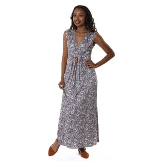 Hadari Women's V-Neck Paisley Maxi Dress