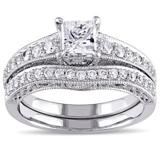 L'amour Enrose by Miadora 14k White Gold Pink Sapphire and 1 1/4ct TDW Diamond Bridal Ring Set (G-H, I2-I3)