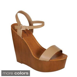Breckelle's Women's Emily-44 Ankle Strap Wedges