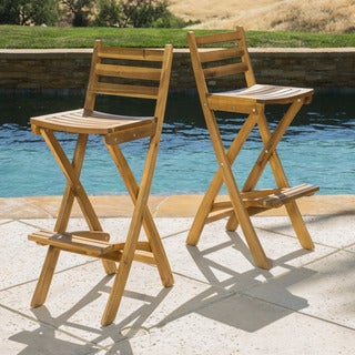 Christopher Knight Home Tundra Outdoor Acacia Wood Barstool (Set of 2)