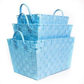 Woven Blue Storage Baskets (Set of 3)