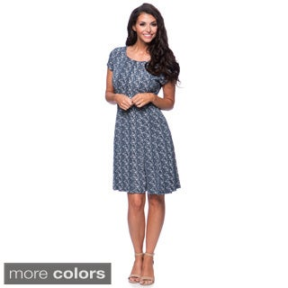 Connected Apparel Leaf Print Fit-and-Flare Dress