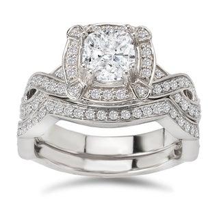 Avanti 14k White Gold 1 5/8ct TDW Certified Cushion-cut Diamond Bridal Ring Set (G-H, SI1-SI2)
