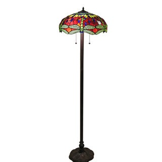 Tiffany-style Scarlet Dragonfly 18-inch Floor Lamp