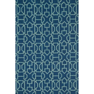 Hand-hooked Indoor/ Outdoor Capri Navy/ Aqua Rug (9'3 x 13'0)