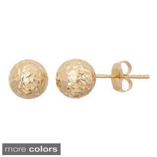 Gioelli 14k Gold 6mm Diamond Cut Ball Stud Earrings
