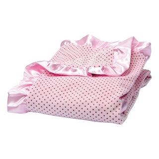 Trend Lab Rose Pink Delightful Dot Velour and Satin Receiving Blanket