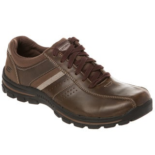Skechers USA Relaxed Fit Leather Bike Toe Lace Up with Gel Infused Memory Foam Footbed