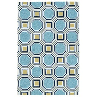 Indoor/Outdoor Handmade Getaway Blue Rug (9'0 x 12'0)