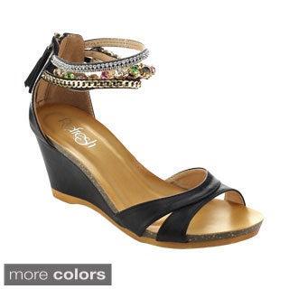 Refresh Women's Passion-01 Bejeweled Ankle Strap Back Zip Fringe Wedges