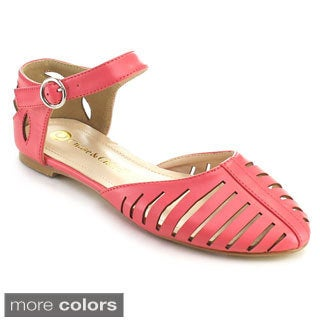 Chase and Chloe Women's Rebecca-6 Ankle Strap Cut-out Style Sandal