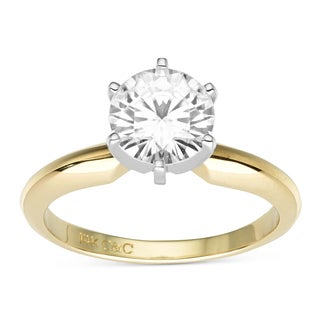 Charles & Colvard 14k Two-Tone Gold 1.90 TGW Round Forever Brilliant Moissanite Solitaire Ring