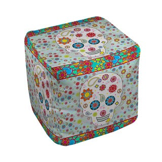 Thumbprintz Sugar Skull Colored Box Pouf