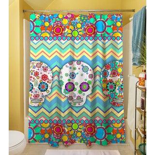 Thumbprintz Sugar Skull Chevron Box Shower Curtain