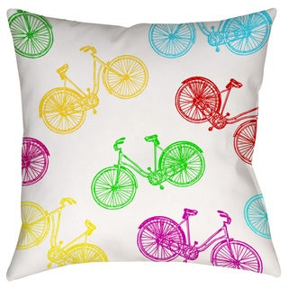Thumbprintz Neon Party Bike Pattern Decorative Pillow