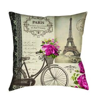 Thumbprintz Springtime in Paris Bicycle Indoor/ Outdoor Pillow