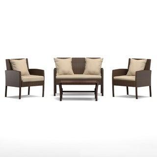 Portfolio Aldrich Brown 4-piece Wicker Indoor/Outdoor Seating Grouping