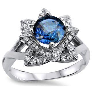 Noori 14k White Gold Round Blue Sapphire 2/5ct TDW Diamond Lotus Flower Engagement Ring (G-H, SI1-SI2)