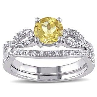 Miadora 10k White Gold Yellow Beryl and 1/6ct TDW Diamond Bridal Ring Set (G-H, I1-I2)