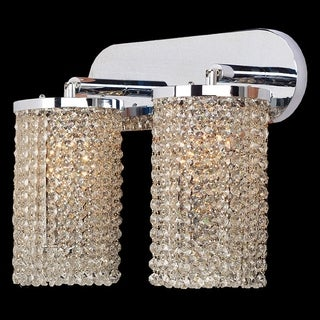 Sparkling 2-light Full Lead Hanging Crystal Chrome Finish Wall Sconce Light