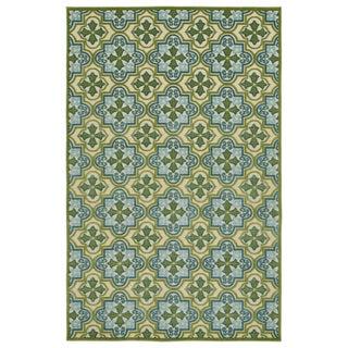 Indoor/Outdoor Luka Green Tile Rug (8'8 x 12'0)